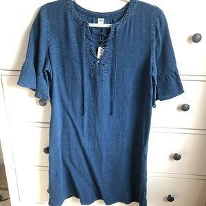 NWT Old Navy Denim styled Ruffle Lace Up Dress